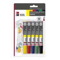 Набір маркерів для розпису по тканині, 2-4 мм., 5 кольорів, Marabu