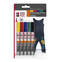 Набір маркерів для розпису по тканині, 3 мм., 5 кольорів, Marabu
