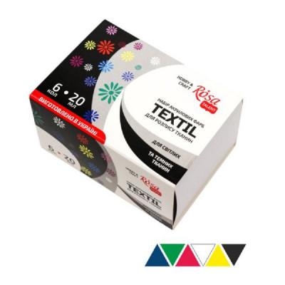 Набір акрилових фарб по тканині, 6 кольорів по 20 мл., ROSA TALENT
