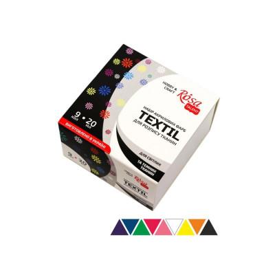 Набір акрилових фарб по тканині, 9 кольорів по 20 мл., ROSA TALENT