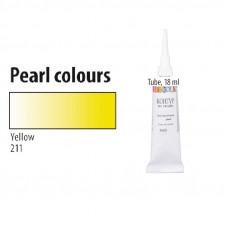 Жовтий, перламутровий контур для тканини, Decola, 18мл