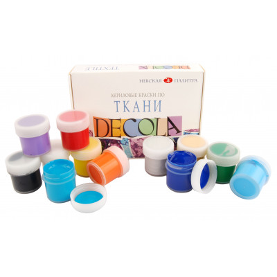 Набір акрилових фарб по тканині, 12 кольорів по 20 мл., Decola 4141216