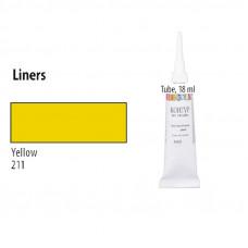 Жовтий Контур для скла та кераміки, Decola, 18мл