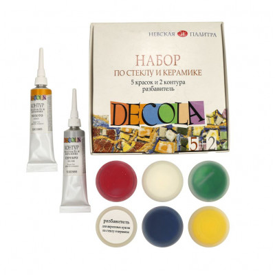 Набір акрилових фарб по склу та кераміці з контурами і розріджувачем  Decola 4041176